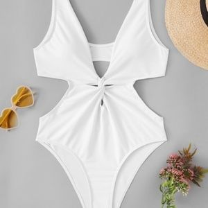 Twist front cut out one piece swimsuit
